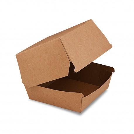 Hnědý papírový box na hamburger 11x11x9cm/50ks 48506