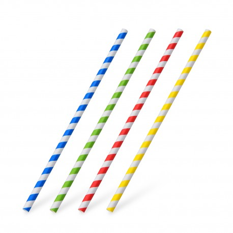 Papírové slámky spirála 20cm/25ks 40805