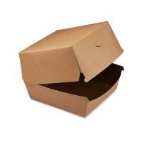 Hnědý papírový box na hamburger 13,5x13,5x10cm/50ks 48507