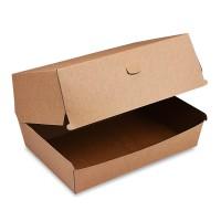 Hnědý papírový box na hamburger PLUS 19,5x13,5x10cm/50ks 48508
