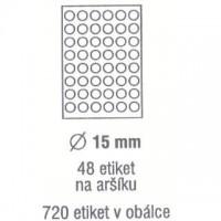 Etikety kulaté ø 15mm /720ks