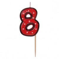 """Číslová svíčka na špejli """"8"""" 50mm 37208"""