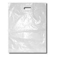 PE tašky s výsekem bílé 30x40cm 55my/100ks