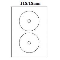 Etikety na CD/DVD 118/18mm 2ks/100 listů A4