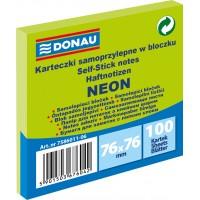 Samolepicí bloček Donau 76x76mm 100 listů neonově zelený