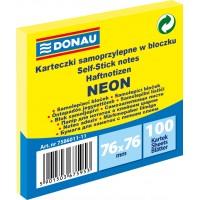 Samolepicí bloček Donau 76x76mm 100 listů neonově žlutý