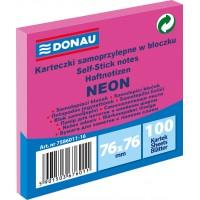 Samolepicí bloček Donau 76x76mm 100 listů neonově růžový