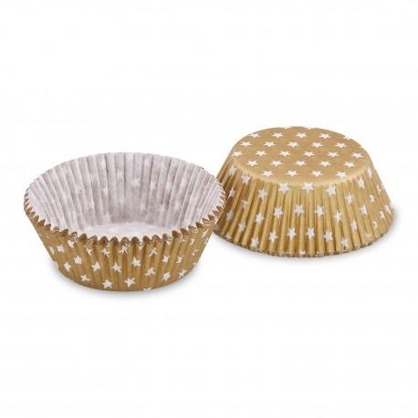 Cukrářské košíčky zlaté s bílými hvězdičkami/40ks 65598