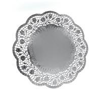 Dekorační krajky kulaté stříbrné 32cm/4ks 65483