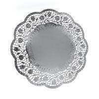 Dekorační krajky kulaté stříbrné 36cm/4ks 65486