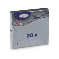 Ubrousky 33x33cm 3-vrstvé šedé/20ks 70725