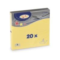 Ubrousky 33x33cm 3-vrstvé žluté/20ks 70705