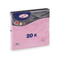 Ubrousky 33x33cm 3-vrstvé růžové/20ks 70702